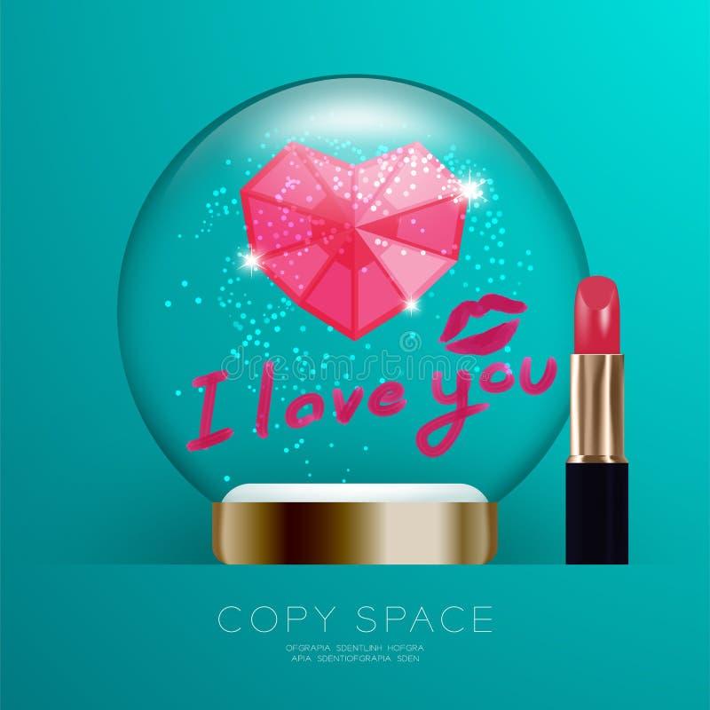 Souvenir Valentine Snowball Glass blänker med rosa hjärtasymbol stock illustrationer