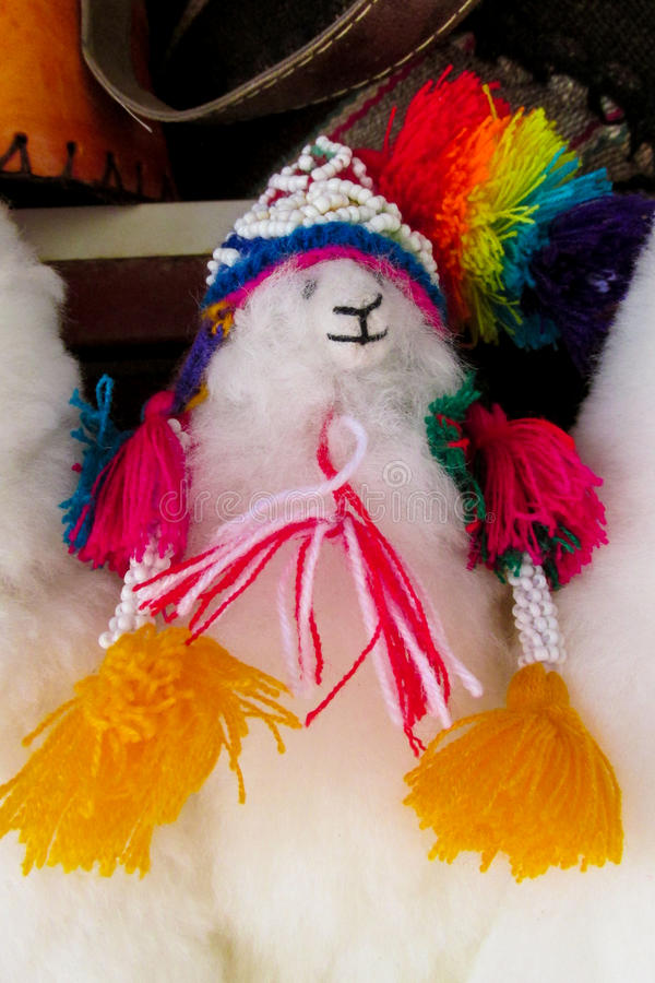 Souvenir wool lama. South America souvenir traditional crafts gift shop, Bolivia. Native american Idols at mercado de las brujas in La Paz, Bolivia witch market stock image