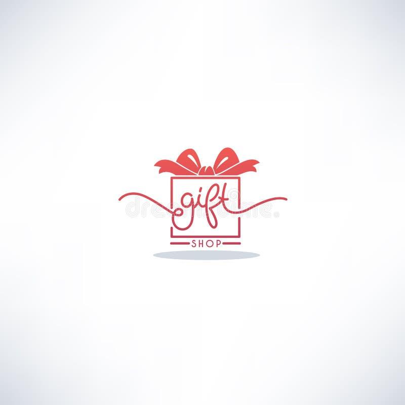 Souvenirladen-Gekritzel-Beschriftungs-Logo mit Bild des Präsentkartons lizenzfreie abbildung