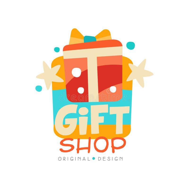 Souvenirladenlogo-Designschablone, Aufkleber mit Geschenkboxvektor Illustration auf einem weißen Hintergrund lizenzfreie abbildung