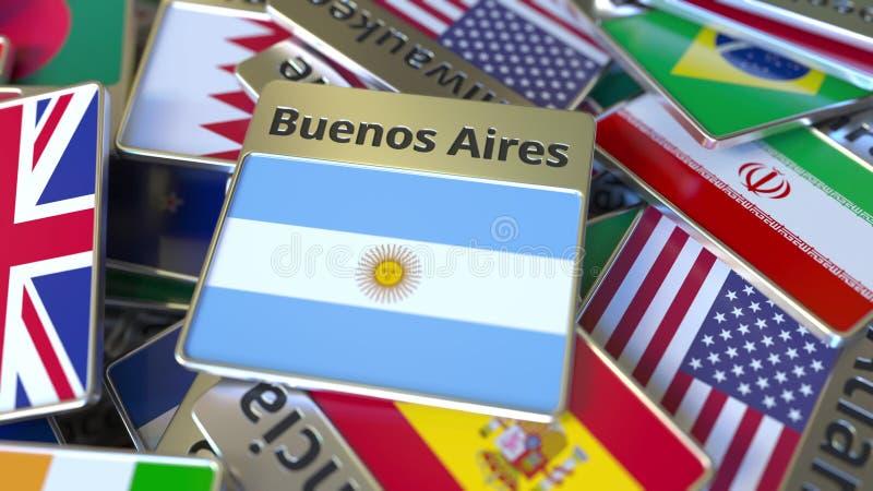Souvenirmagnet eller emblem med den Buenos Aires text och nationsflaggan bland olika Resa till Argentina vektor illustrationer