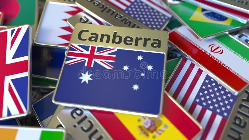 Souvenirmagnet eller emblem med den Canberra text och nationsflaggan bland olika Resa till Australien begreppsm?ssig 3D royaltyfri illustrationer