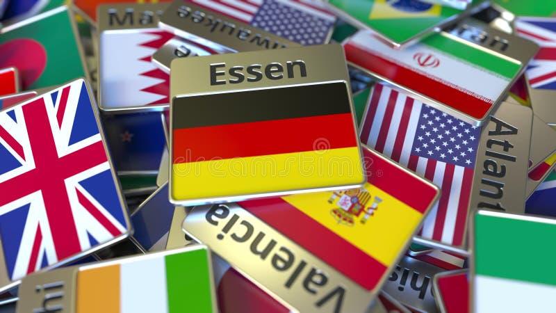 Souvenirmagnet eller emblem med den Essen text och nationsflaggan bland olika Resa till Tyskland begreppsm?ssig 3D stock illustrationer