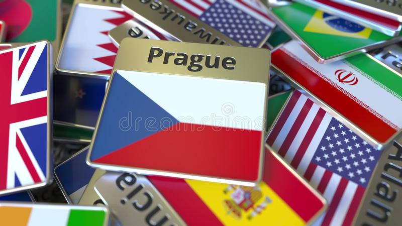 Souvenirmagnet eller emblem med den Prague text och nationsflaggan bland olika Resa till Tjeckien vektor illustrationer