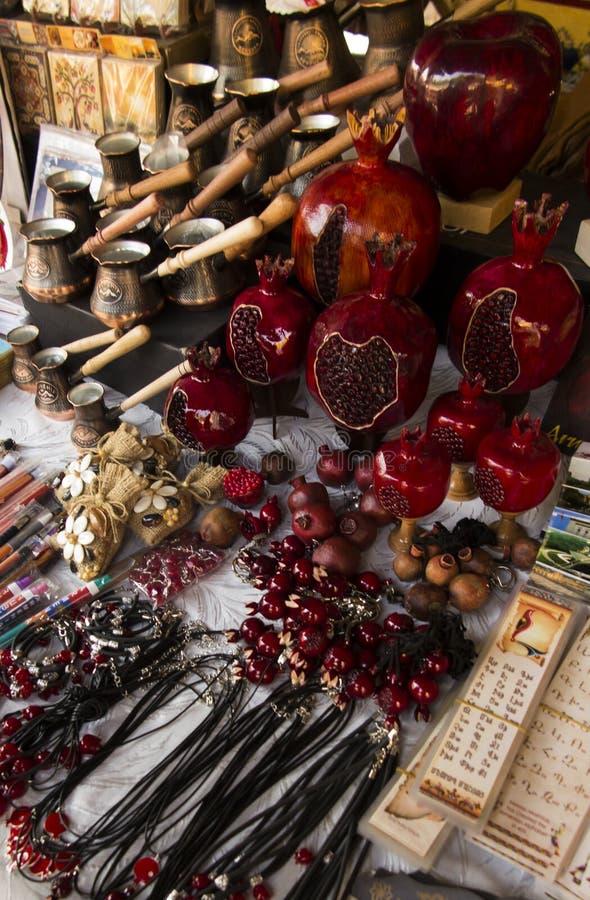 Souvenirs from Armenia with pomegranate motif stock photos