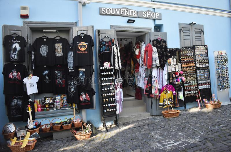 Souvenirs and clothes shop in Sighisoara. 10 October 2019, Sighisoara, Mures county, Transylvania, Romania, Europe royalty free stock images