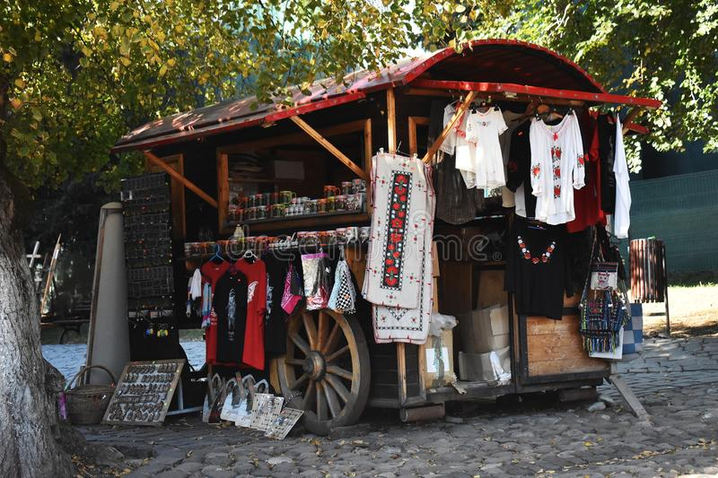 Souvenirs and clothes shop in Sighisoara. 10 October 2019, Sighisoara, Mures county, Transylvania, Romania, Europe stock image