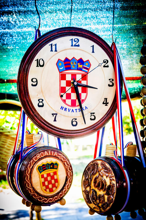 Souvenirs with Croatian simbols on sale at the fair stock photo