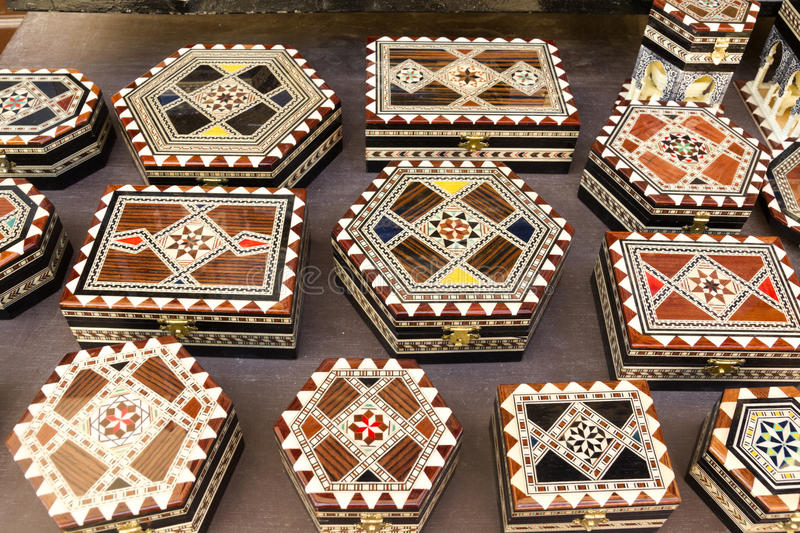 Souvenirs of Granada. Boxes with Arabic motifs stock images