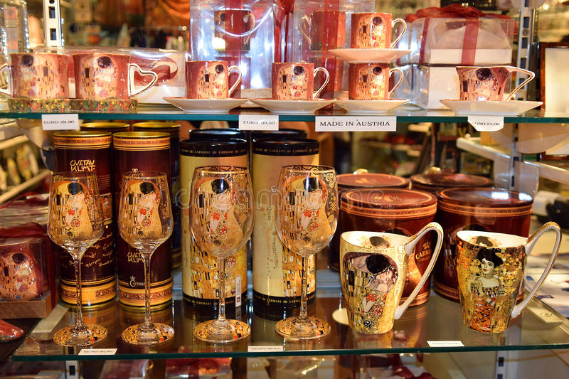 Souvenirs with image of paintings of Gustav Klimt royalty free stock images