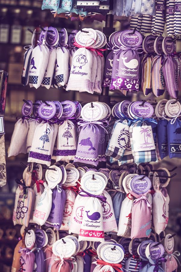 Souvenirs from lavender in Montenegro, gifts of lavender for sale. Budva. Old Budva, Montenegro - July 19, 2019: Souvenirs from lavender in Montenegro, gifts of royalty free stock photo