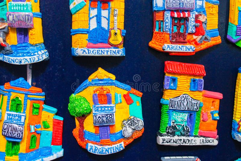 Souvenirs Magnets of Buenos Aires Souvenir royalty free stock images