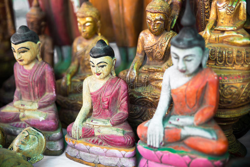 Souvenirs on the market Myanmar. Ornaments and figurines stock photography