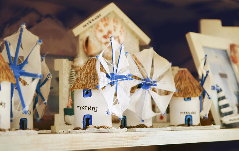 Souvenirs mill in the souvenir shop on the island of Mykonos. Greece stock photography