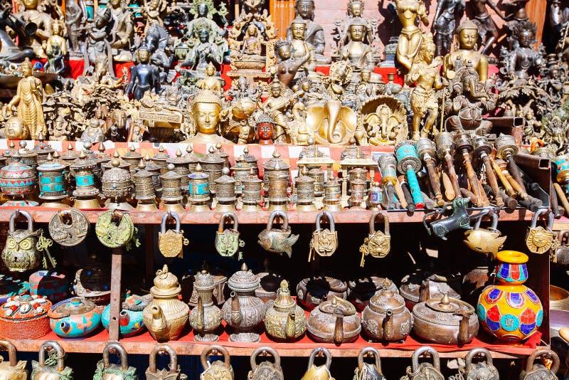 Souvenirs offered on a market, Kathmandu, Nepal royalty free stock photos
