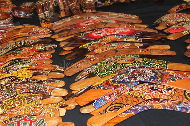 Collage of boomerangs at Queen Victoria Market, Melbourne,Australia. Boomerangs and Aboriginal arts souvenirs for sale at the famous and historical Queen stock images