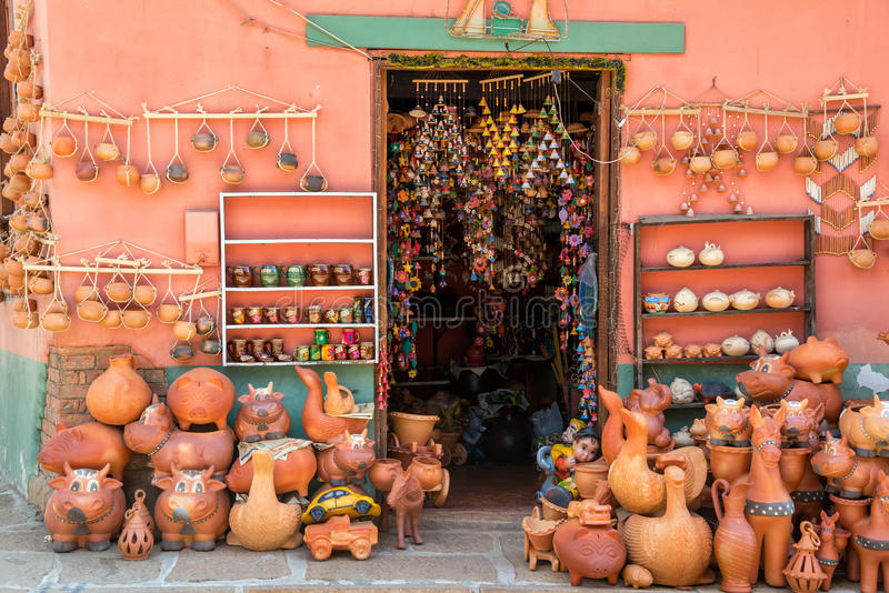 Souvenirs in Raquira stock photos