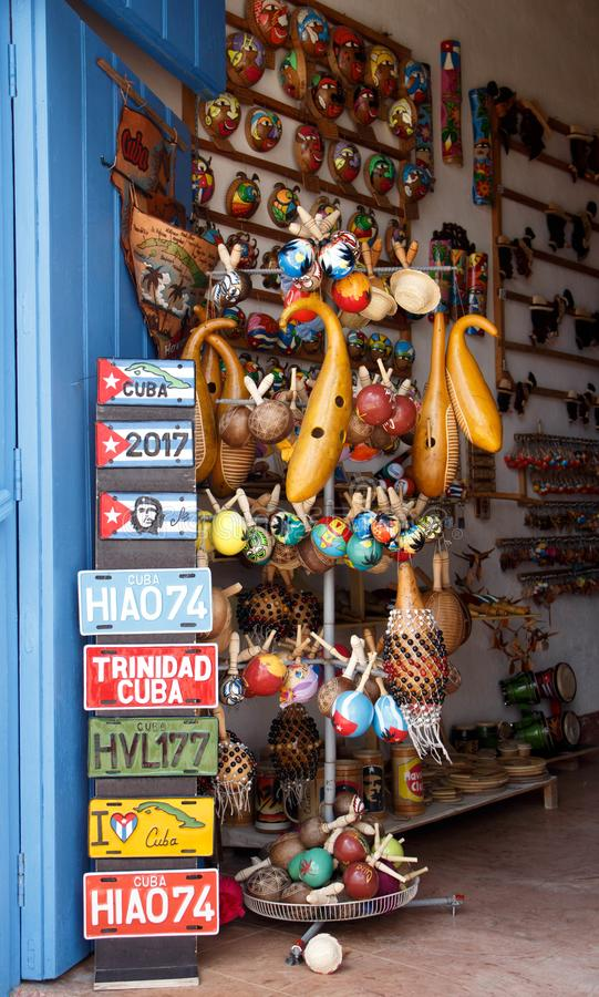 Souvenirs for sale in Havana including handmade fake car license plates stock image