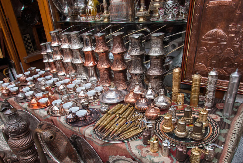 Souvenirs from Sarajevo, Bosnia and Herzegovina. Copper and brass souvenirs for sale in the old market of Sarajevo, Bosnia and Herzegovina royalty free stock photo