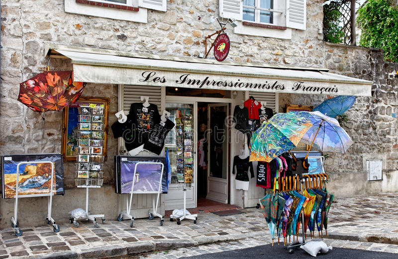 Souvenirs Shop in Barbizon stock image