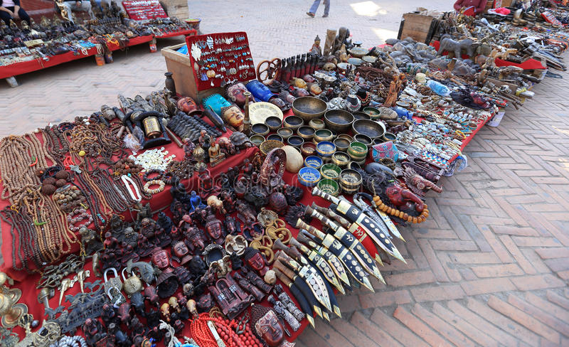 Souvenirs in the shop at Durbar square in Kathmandu stock photos