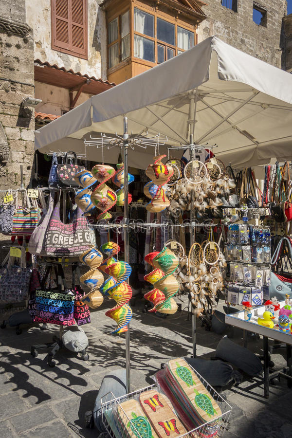 Souvenirs Stall. In the ancient city of Rhodes, Greece stock image