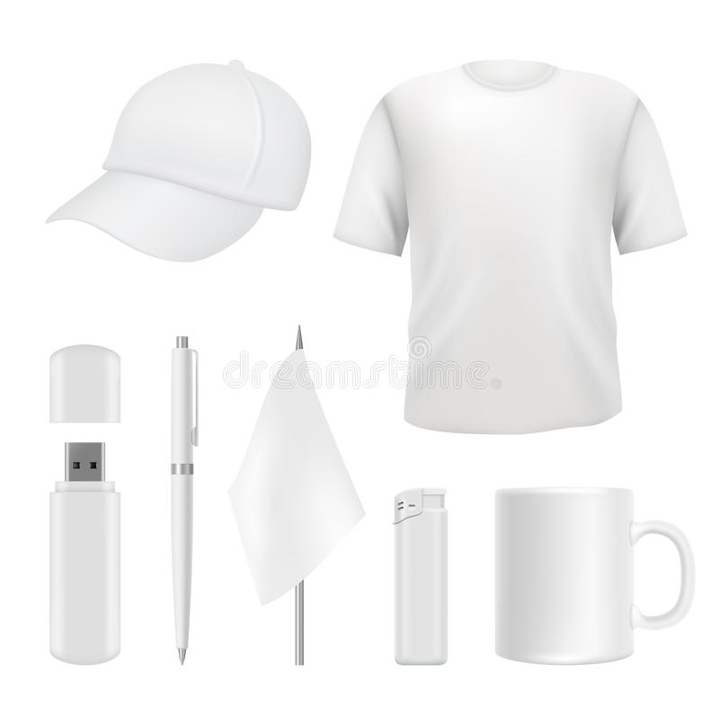 Souvenirs templates. Promotional branding gifts empty elements. Blank business identity on white royalty free illustration