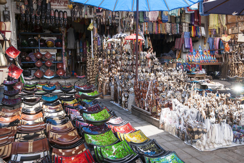 Souvenirs at Ubud Market royalty free stock image