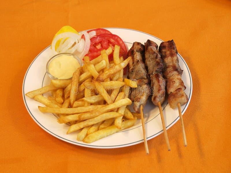 Souvlaki greco immagine stock