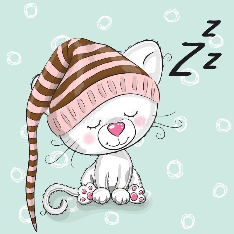 Sova den gulliga kattungen royaltyfri illustrationer