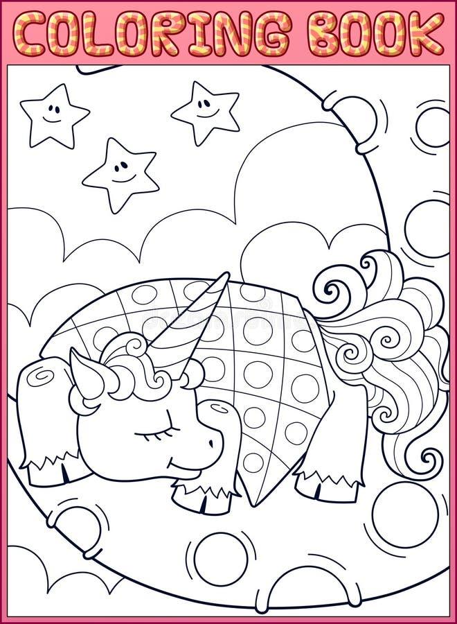 Sova den lilla enhörningen från saga på royaltyfri illustrationer