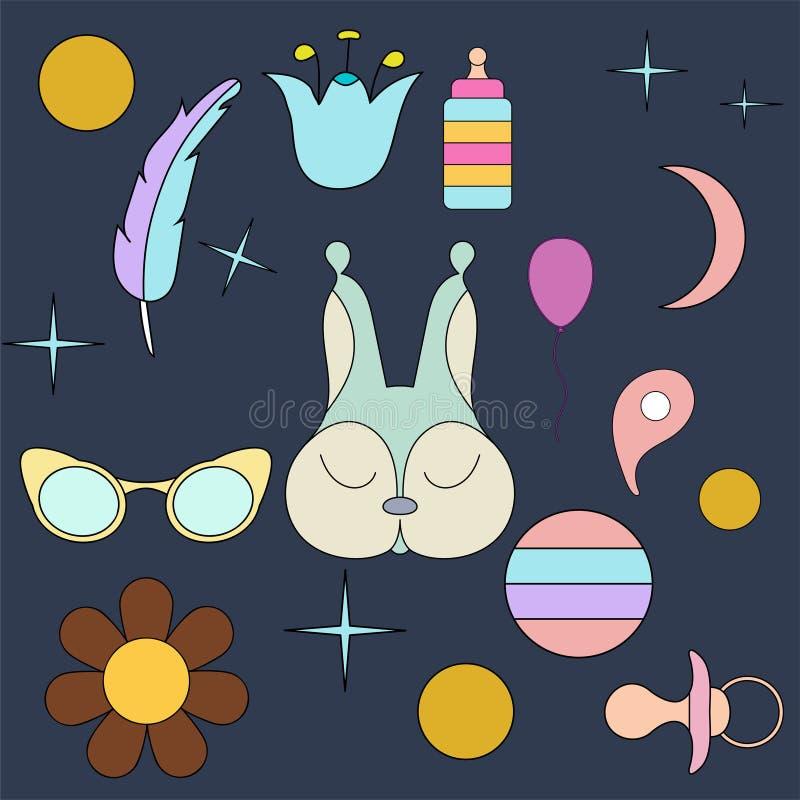 Sova ekorren Framsida isolerat djur för garnering Teckning för barn` s Delikata färger vektor illustrationer