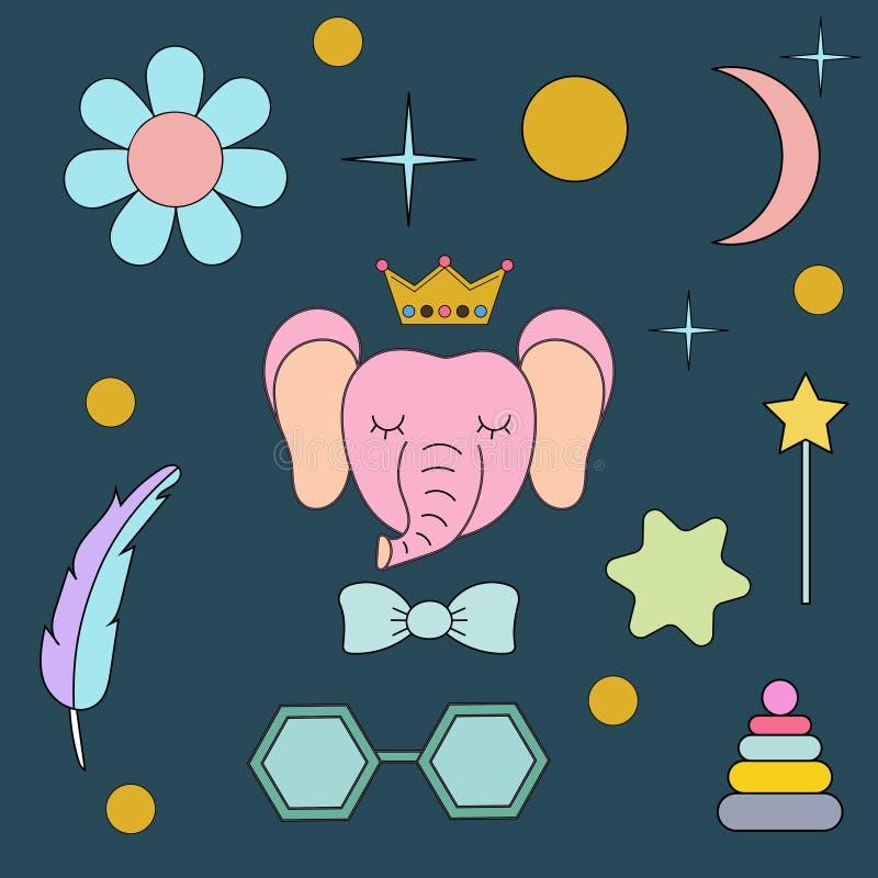 Sova elefanten Framsida isolerat djur för garnering Teckning för barn` s Delikata färger vektor illustrationer