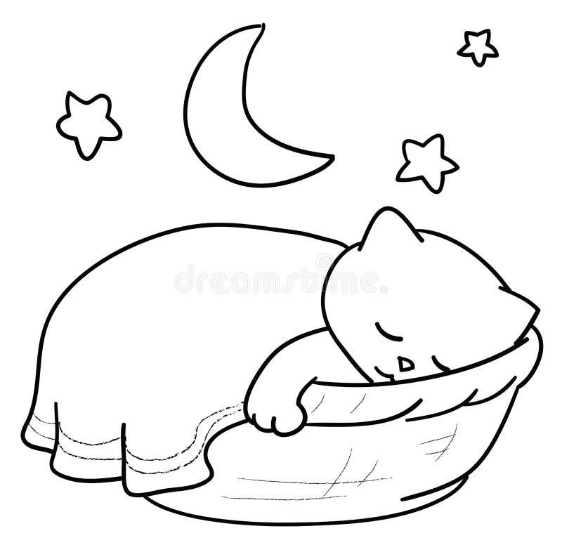 sova för katt royaltyfri illustrationer