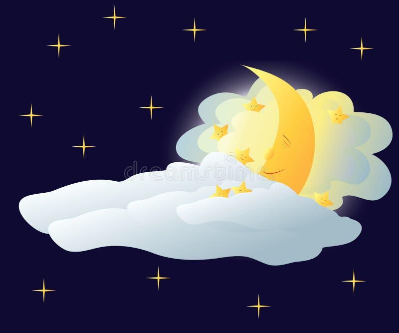 sova för moon stock illustrationer