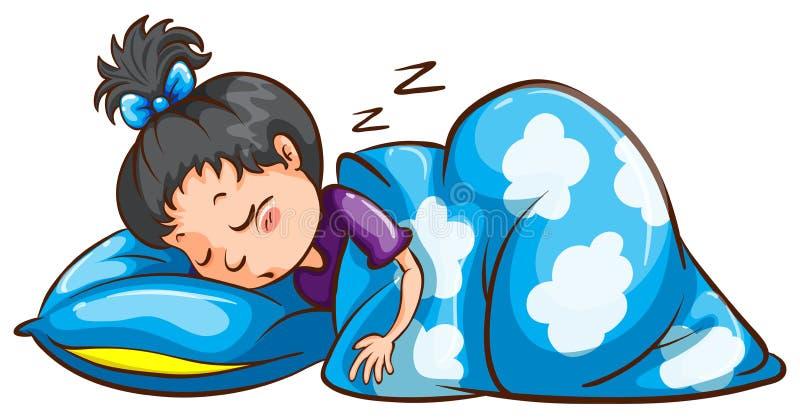 Sova för ung flicka stock illustrationer