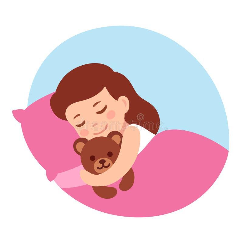 Sova flickan med nallebjörnen stock illustrationer
