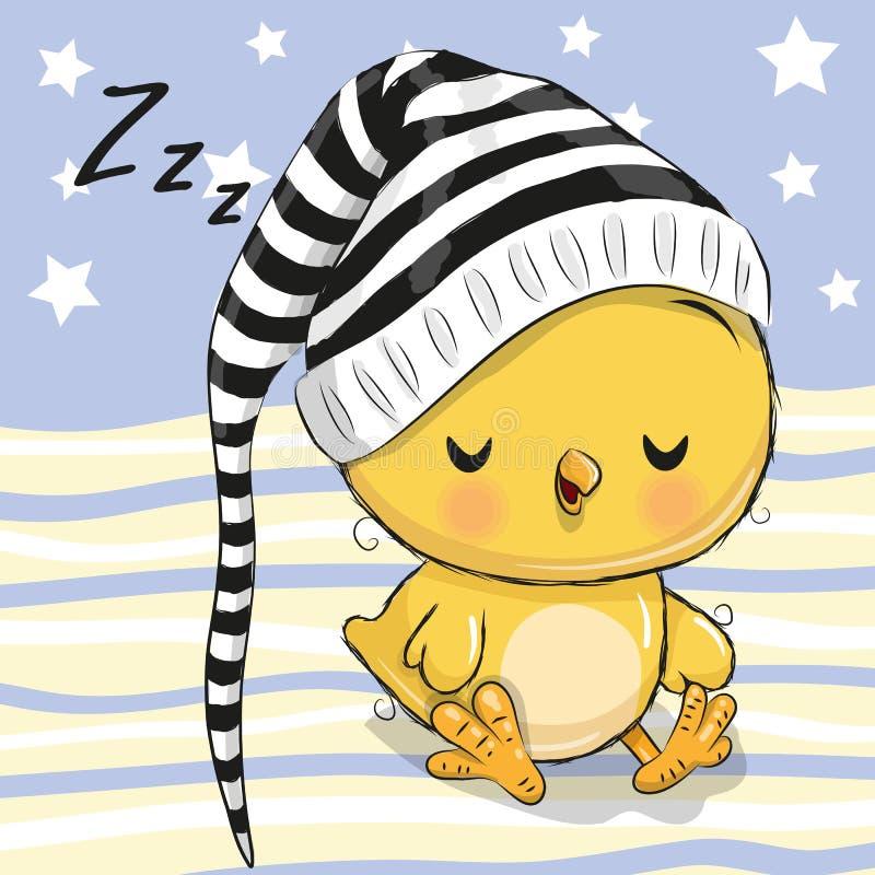 Sova gullig höna i en huv royaltyfri illustrationer