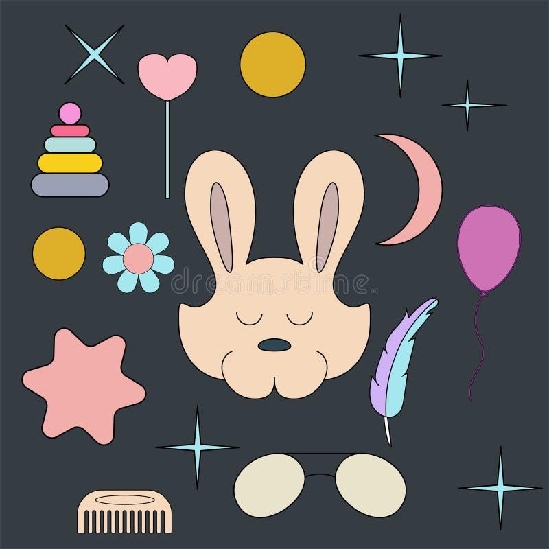 Sova haren Framsida isolerat djur för garnering Teckning för barn` s Delikata färger stock illustrationer