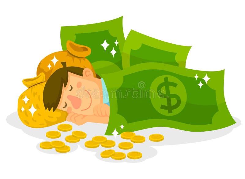 Sova i pengar royaltyfri illustrationer