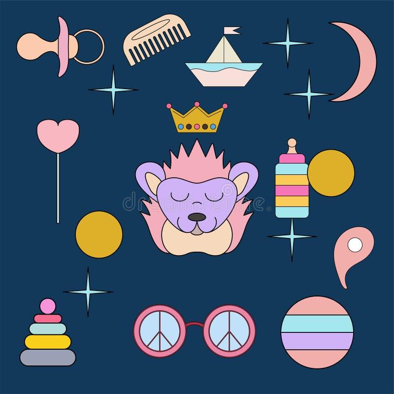 Sova igelkotten Framsida isolerat djur för garnering Teckning för barn` s Delikata färger stock illustrationer