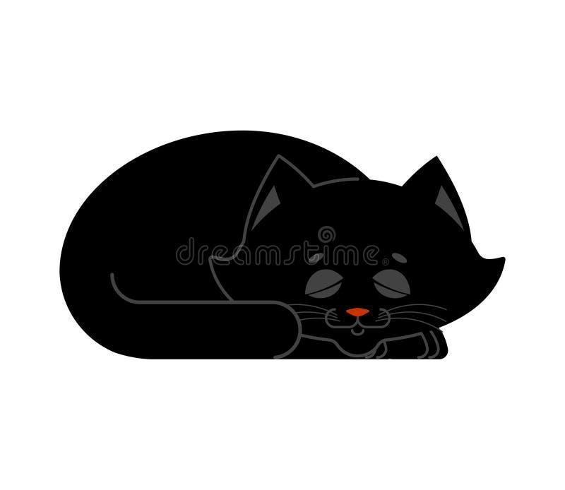 Sova isolerad kattsvart kattungen är sovande sömnhusdjur stock illustrationer