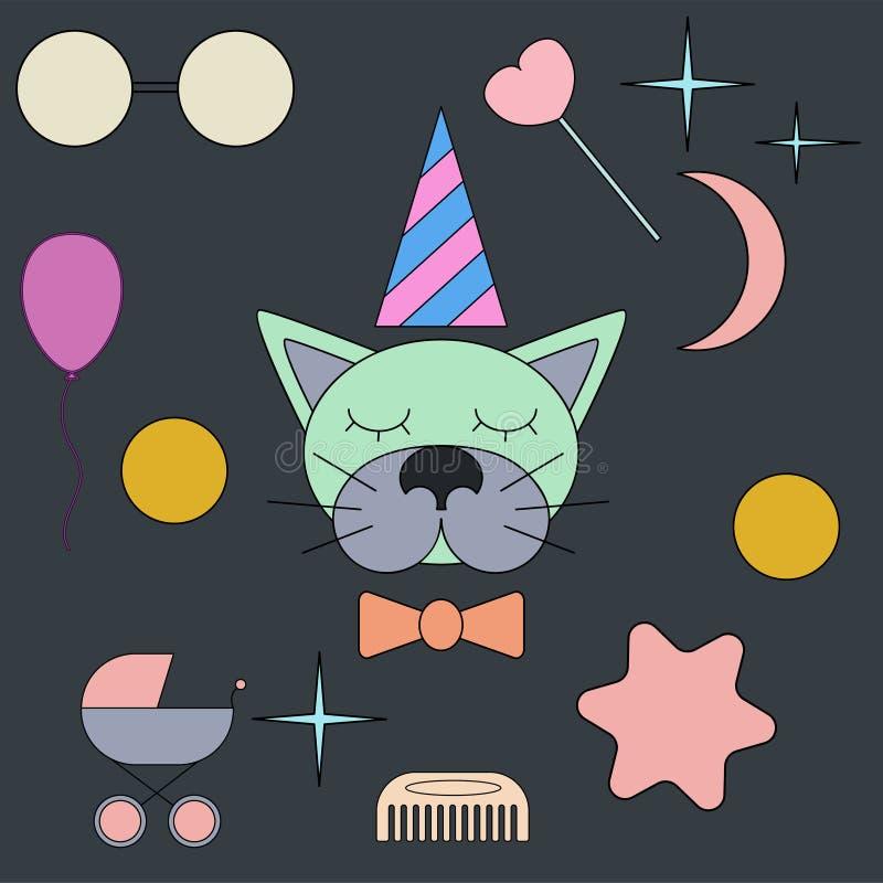 Sova katt Framsida isolerat djur för garnering Teckning för barn` s Delikata färger royaltyfri illustrationer