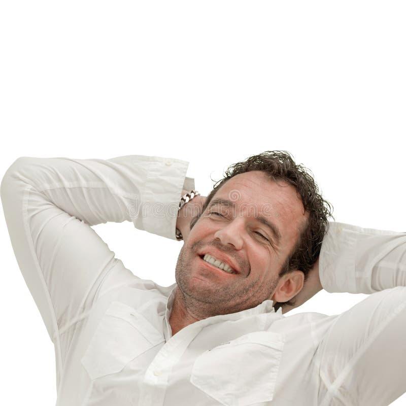 sova leende för lycklig man royaltyfri foto