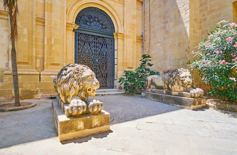 Sova lejon i rätten av slotten för Grandmaster` s av Valletta, Mal arkivfoton