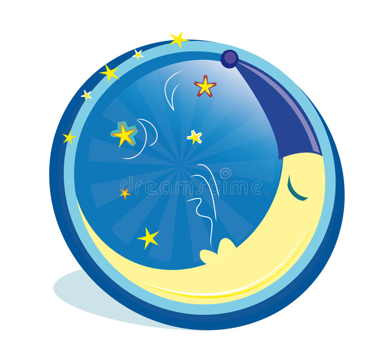 Sova månen i symbol royaltyfri illustrationer