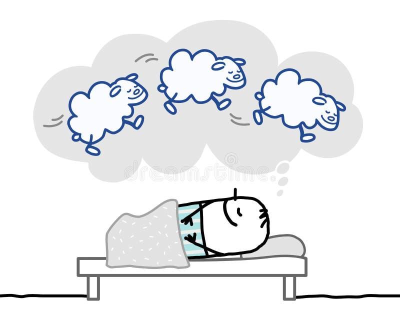 Sova mannen & trevlig dröm royaltyfri illustrationer