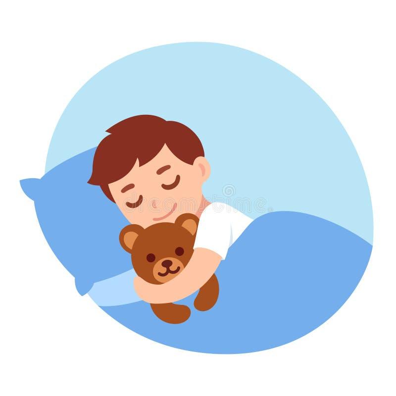 Sova pojken med nallebjörnen stock illustrationer