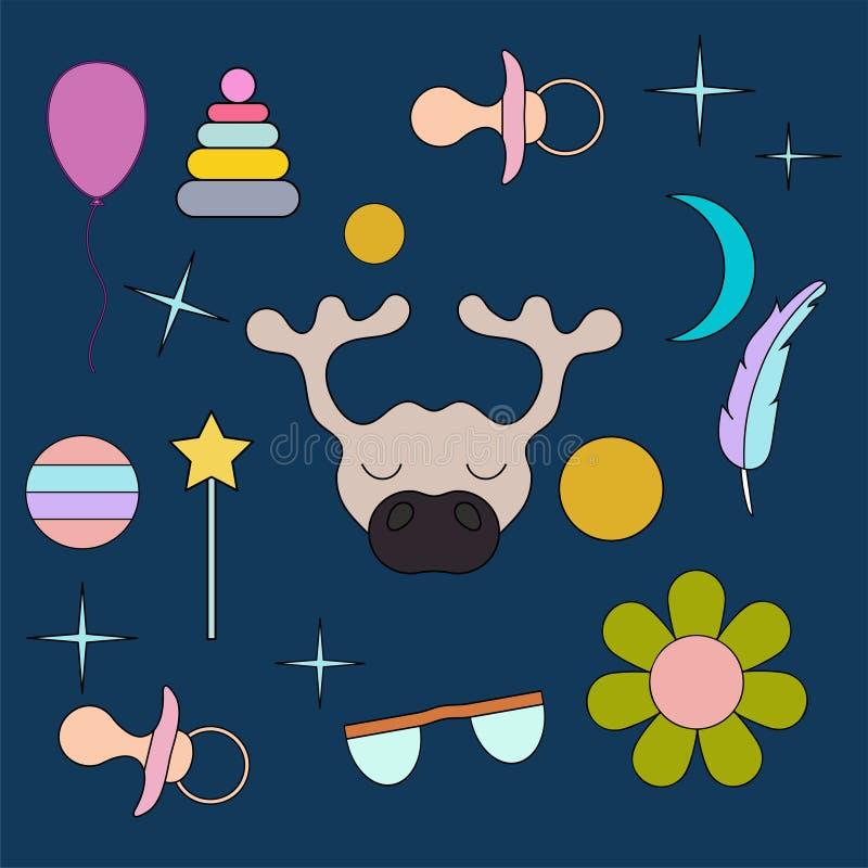 Sova renen Framsida isolerat djur för garnering Teckning för barn` s Delikata färger stock illustrationer
