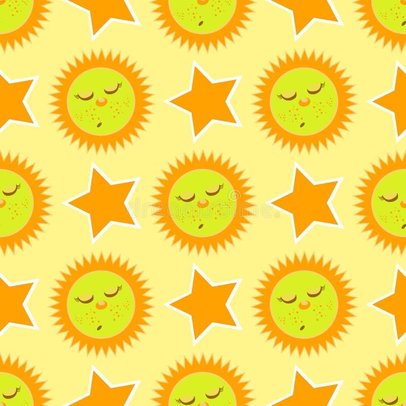 Sova solen och stjärnan seamless modell stock illustrationer